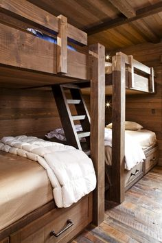 Another great idea for bunk beds in a camp house; love it!