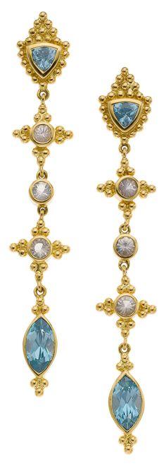 Paula Crevoshay Zircon, Moonstone, Gold Earrings 18k gold with 3.22 carats total weight of blue zircon and 0.52 carat total weight of moonstone.