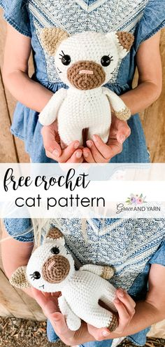 Quick and easy free crochet mini cat pattern! Instructions include step by step photos and is a great beginner amigurumi project! Crochet Cat Pattern, Crochet Birds, Crochet Amigurumi Free Patterns, Crochet Bear, Easy Crochet Patterns, Crochet Animals, Crochet Toys, Free Crochet, Knitted Dolls