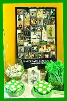 RE-invented style: Golfer Dad's 80th Birthday Party decoration, centerpiece, invitation, cake and table ideas