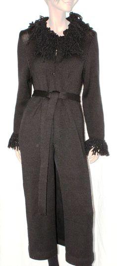 Gorgeous Handmade Real Wool Woman Dust Coat Made in Italy Cappotto Spolverino Maxy Cardigan Donna Lungo Nero Lana Frange Boho Taglia S/M di BeHappieWorld su Etsy