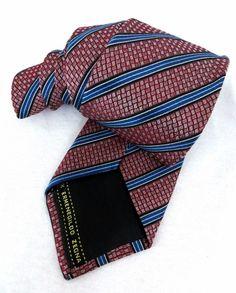 """Ermenegildo Zegna Tie Recent Red Geometric 60"""" 3D Weave Striped Silk Necktie #ErmenegildoZegna #NeckTie"""