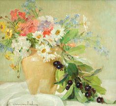 Vaso de flores e frutas Carlos Oswald (Brasil, 1882-1971) óleo sobre madeira, 34 x 39 cm