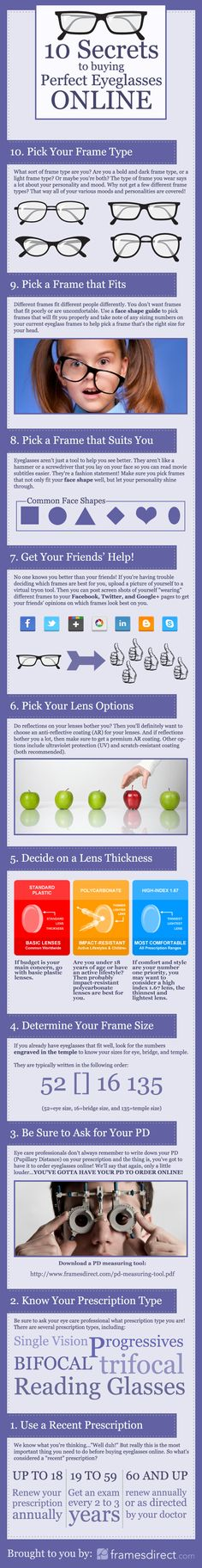 10 Secrets to Buying Perfect Eyeglasses Online Infographic Best Aviator Sunglasses, Aviator Glasses, Eye Glasses, Bifocal Reading Glasses, Computer Glasses, Men Eyeglasses, For Your Eyes Only, Glasses Online, Good To Know