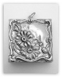 ANTIQUE STERLING SILVER STAMP BOX PENDANT