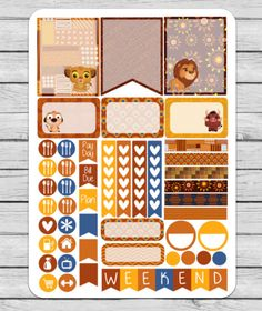 Lion King Planner Stickers Lion King Stickers by BrandysShop