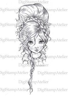 Braided Girl. INSTANT DOWNLOAD Digital Digi by digistampatelier