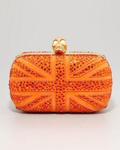Britannia Crystal-Encrusted Skull-Clasp Clutch Bag by Alexander McQueen