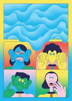 Dazed and confused characters in retro-futuristic landscapes occupy the world of illustrator Derek Ercolano.
