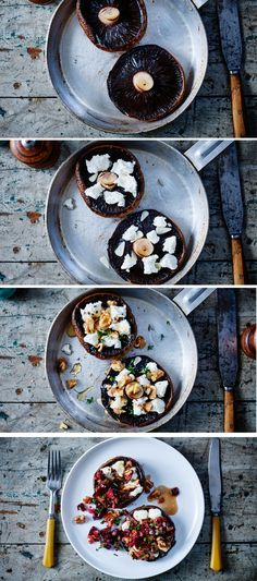 Make an easy, luxurious dinner for 2 with these grilled mushrooms with goats' cheese, walnuts and beetroot salsa.