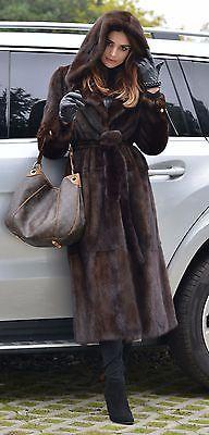BROWN SAGA MINK LONG TRENCH FUR COAT HOOD BELT CLASS SABLE CHINCHILLA FOX JACKET