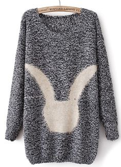 Grey Long Sleeve Rabbit Pattern Loose Sweater