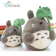 Lovely Anime Totoro with Lotus Leaf Plush Doll Stuffed Animal Toy Gift For Children #Affiliate