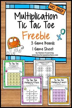 FREEBIES - Facts Tic Tac Toe Math Games Freebie from Games 4 Learning combines the fun of Tic Tac Toe and with practice of basic multiplication facts. It includes 3 Tic Tac Toe Multiplication Game Boards and 1 Print and Play Game Sheet. #mathpracticegames