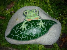 "Mini Mille Frog | Glass, millefiori, on 12"" rock. | AMOSAIC | Flickr"