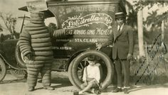 Michelin's mascot, the Bibendum, in Paris.  Circa 1900.