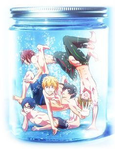Free! Iwatobi Swim Club. Well that's a little bit awkward where some legs and knees and feet are...