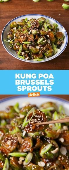 Kung Pao Brussels Sprouts have a serious kick. Get the recipe at Delish.com. #delish #recipe #easyrecipe #brussels #veggie #vegetable #healthy