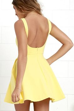 The next time you're packing a suitcase, the oh-so-versatile Wanderlust Yellow Skater Dress will be the first thing you'll want to bring along! Yellow Homecoming Dresses, Hoco Dresses, Cute Dresses, Formal Dresses, Evening Dresses, Light Yellow Dresses, Yellow Dress Summer, Skater Dress, Dress Skirt