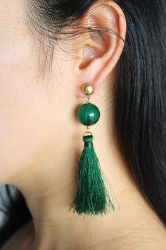 Emerald effect jumbo bead with tassel dangle by SkylaBoutique #emeralddropearrings #dropearrings