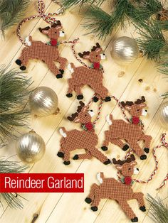 "Reindeer Garland - #EP00554/ beginner to easy ~ approx. 5"" x 6"" on 7 ct. ~ PLASTIC CANVAS"