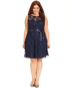 Trixxi Dress, Sleeveless Lace Illusion A-Line - Plus Size Dresses - Macy's Plus Size Holiday Dresses, Dress Plus Size, Wedding Dresses Plus Size, Plus Size Outfits, Curvy Fashion, Look Fashion, Plus Size Fashion, Girl Fashion, Mode Xl