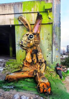Bordalo with his found material installation in Lisbon, Portugal, 2/15 (LP)