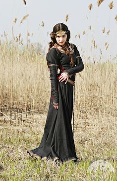 Hey, I found this really awesome Etsy listing at https://www.etsy.com/listing/106692070/black-medieval-dress-lady-hunter