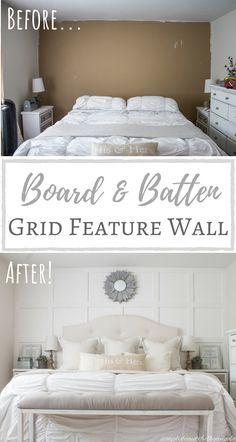 Move over shiplap, board and batten is here to stay. Move over shiplap, board and batten is here to stay. Move over shiplap, board and batten is here to stay. Move over shiplap, board and batten is here to stay. Home Bedroom, Bedroom Wall, Bedroom Decor, Bedroom Ideas, Feature Wall Bedroom, Wood Feature Walls, Modern Bedroom, Basement Master Bedroom, Wainscoting Bedroom