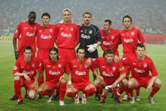 Liverpool FC squad for 2005 Champions League Final in Istanbul. LFC overcame 3-0 deficit to win, remains one of the great comebacks in sports history.