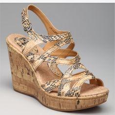 BORN CONCEPTS Brygida sandal Never worn!!!!!  Natural snakeskin cork sandal. Born Shoes Wedges