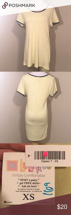 LulaRoe Classic Tee. Size XS. NWT. Classic tee. Yellow with grey collar. LuLaRoe Tops Tees - Short Sleeve