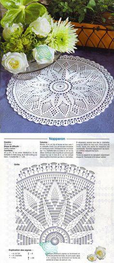 Crochet Patterns Filet, Crochet Doily Diagram, Modern Crochet Patterns, Crochet Lace Edging, Filet Crochet, Crochet Cable, Crochet Home, Thread Crochet, Crochet Beach Bags