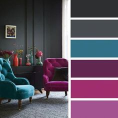 The living room color schemes to give the impression of more colorful living. Find pretty living room color scheme ideas that speak your personality. Teal Living Rooms, Living Room Color Schemes, Living Room Furniture, Living Room Decor, Bedroom Decor, Grey Living Room With Color, Living Room Trends 2018, Color Schemes With Gray, Dorm Color Schemes