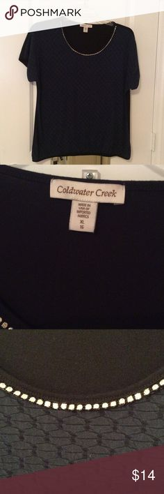 Coldwater Creek Short Sleeve Top. A nice gently worn short sleeve top by Coldwater Creek.  Materials are a blend of polyester, spandex and nylon.  See the tag for washing instructions.  Sleeves and waist line are gently stretchable. Coldwater Creek Tops Tees - Short Sleeve