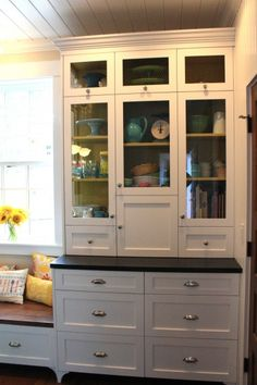 Love the built in hutch to showcase some pretties...and it's yellow in the background!