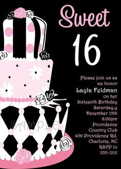 Sweet 16 Birthday Invitation Card 2019
