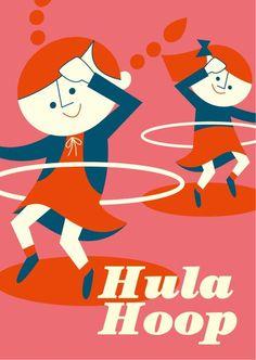 Cozy Tomato - Hula Hoop  Tiphaine-illustration  #retro #hulahoop #kid Coach, Character Illustration, Cool Art, Kids Rugs, Memories, Retro, Hula Hooping, Artist, Appreciation