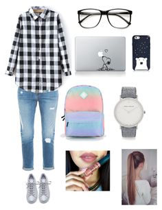 """go to college look"" by nianaap ❤ liked on Polyvore featuring Frame Denim, Vans, adidas, Kate Spade and Larsson & Jennings"