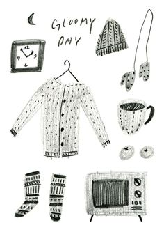 gloomy day, drawing, illustration, collection, january, winter, doodle, texture