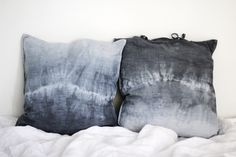 Grey shibori cushions