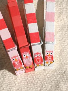 PINK OWLS hand painted magnetic clothespins. $10.00, via Etsy.