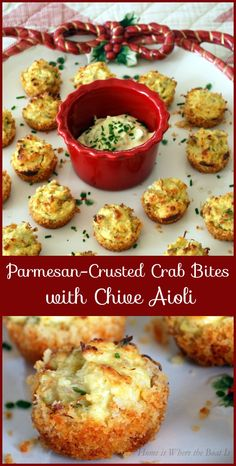 Parmesan-Crusted Crab Bites with Chive Aioli pork rinds instead of panko