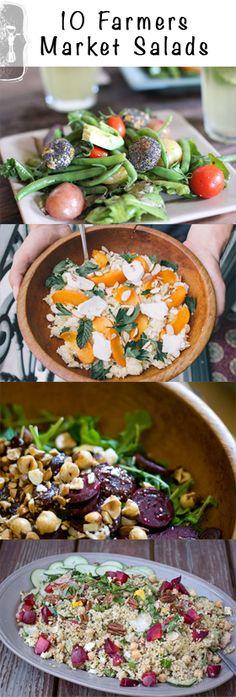 10 Farmers Market Salad Recipes • theVintageMixer.com #healthyrecipes #salad
