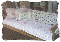 Chenille Blanket over King sized pillows for porch swing