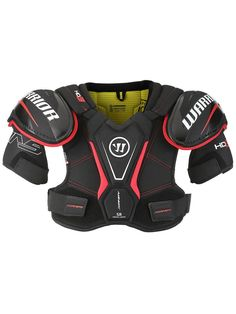 FEATURES: - Protection: - Hard molded plastic shoulder caps and Bicep Guard - Thick medium-density foams on top - High-density floating sternum guard - High-density spine guard - Medium-density foam b