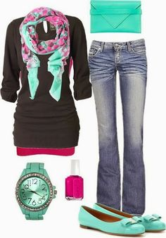Scarf, black dress, jeans, blue handbag and sandals for fall