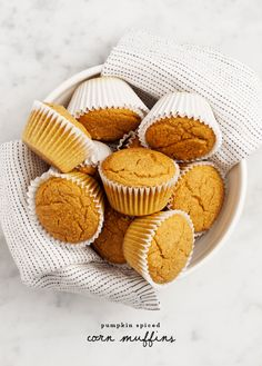 Pumpkin spiced corn muffins are the best Thanksgiving side dish! Made with cinnamon, nutmeg, and maple syrup, we love these refined sugar-free, vegan muffins. Vegan Muffins, Corn Muffins, Cinnamon Muffins, Apple Cinnamon, Croissants, Pumpkin Puree, Pumpkin Spice, Vegan Pumpkin, Canned Pumpkin