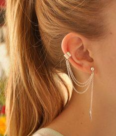 Women Stylish Tassel Leaf Embellished Ear Cuff Silver Earring