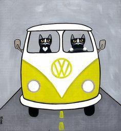 Mustard Yellow VW Bus Cats